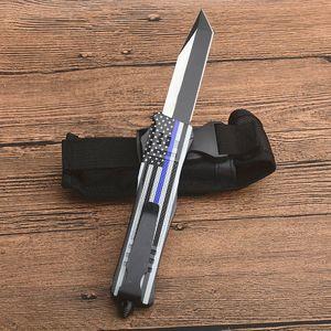Promotion drapeau bleu poignée A161 Autao Couteau tactique 440C Two Tone Tanto point lame alliage Zn-Al poignée Couteaux EDC avec sac en nylon