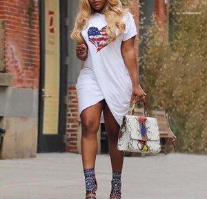 Yaz Kadın AŞK Tasarımcı Elbise Çapraz Casual Kısa kollu Şeker Renk Elbise Plus Size 5XL