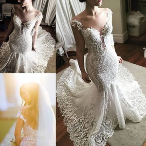 Modest Lace Mermaid Backless Wedding Dresses Sheer Plunging Neck Beaded Bridal Gowns Sweep Train Plus Size Vestidos De Noiva