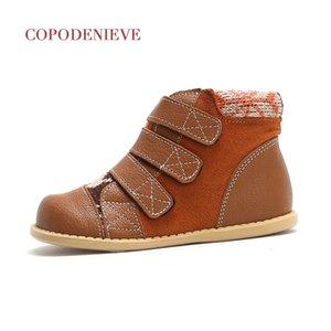 COPODENIEVE 가죽 아이들이 맨발로 신발 짧은 부츠