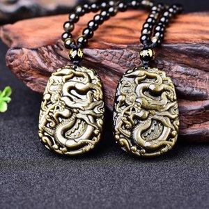 Natural dragón colgante collar de oro de obsidiana amuleto collar amuleto de la suerte de los hombres de obsidiana