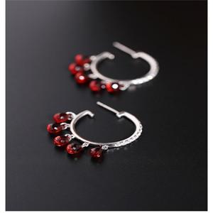 DMBS090 Faceted water drop garnet earrings female gemstones authentic 925 silver red gemstone Korean earrings
