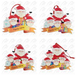 2020 Карантин смолы Рождественская елка Подвесной рождественские украшения украшения подарков Семья орнамента с маской для рук Sanitized GGA3743-1