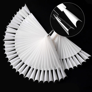 50pcs set Clear Natural False Tips Nail Art Display French Stiletto Sharp Fan Color Card UV Polish Practise Swatch Manicure Tools