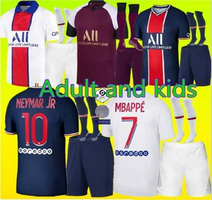새로운 2020 2021 성인 및 키트 키트 PSG저지 2020 2021 MBappe Verratti Cavani 디 Maria Maillot de Foot Child Paris Kids Football Shirt