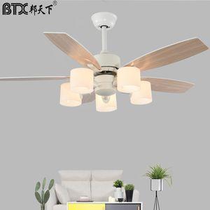 BTX Nordic white ceiling fan light modern quiet fan light Japanese dining room living room bedroom with ceiling