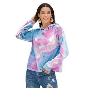 2020 Europe and the United States burst dyed printing gradient color hooded top woman.