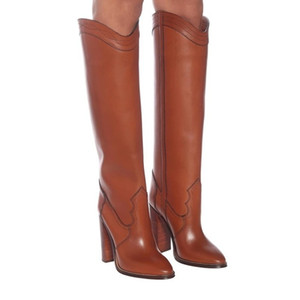 European and American style round toe knee boots super high thick heel set foot fashion boots large size thigh high boots