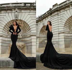 2021 Cheap Black Mermaid Evening Dresses Deep V Neck Long Sleeve Prom Dress Sexy Backless Sweep Train Party Wear robes de soirée