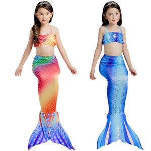 DUOJIAOYAN conte de fées Maillots de bain filles coloré sirène natation Beachwear Bikini Princess Dress mignon maillot de bain