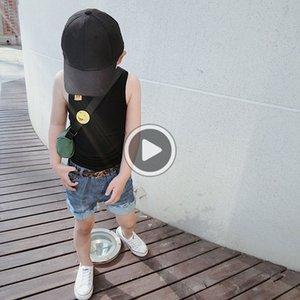 Katı saf pamuk çoklu çocuk düz renk çocuk saf pamuk I şeklindeki I şeklinde yelek çok renkli yelek