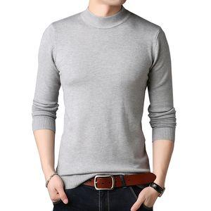 TFETTERS Homens Marca Sweater Outono fino Camisolas Homens Casual cor sólida Turtelneck camisola Juventude Knitwear Plus Size M- LJ200917