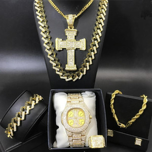 Luxury Men Gold Color Watch & Necklace & Braclete Ring Earrings Combo Set Out Cuban Jewery Crystal Miami Hip Hop For Men