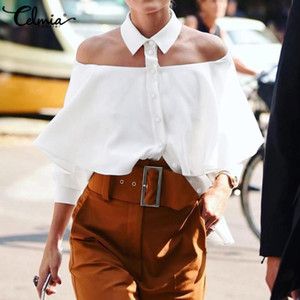 Las mujeres de hombro frío de la blusa halter atractivo Celmia Mujeres camiseta de verano 2020 de las colmenas Oficina sólido tapas ocasionales Botones Partido Blusas 5XL