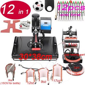 New 12 em 1 Combo imprensa do calor Máquina Impressora Sublimation 2D Heat Transfer Máquina para tshirts Caneca caneta sapato Placa Cap Phone Case