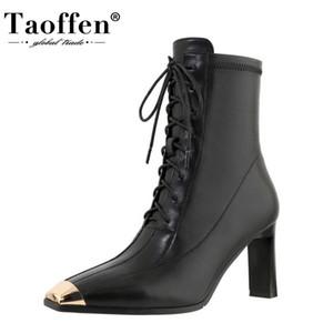 TAOFFEN Echtes Leder Frauen Stiefeletten starker Absatz Metall Dekoration Zipper Schuhe Warme Stiefel Mode Schuhe Größe 34-39