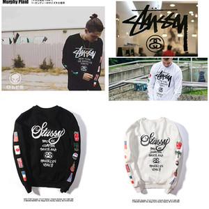 Clássico manga comprida Hip hop além de veludo das mulheres dos HOT Marca camisola Men Stussy camisola com capuz Moda Top Sweater Outono Primavera Roupa