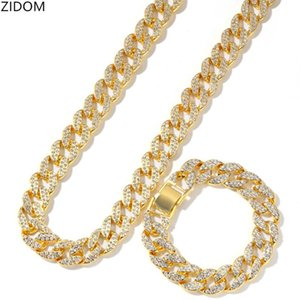 2pcs set Men Hip hop iced out bling Chain Necklace& Bracelets 15mm width Miami Cuban Chains Necklaces Hiphop jewelry gifts