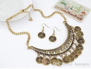 Заявление ожерелья Vintage Boho Золотой Ошейник Колье Ожерелья и серьги Античная индийский невесты Ювелирные наборы