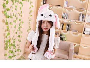 Creative Plush Rabbit Ear Hats Pinching Moving Ears Winter Animals Caps Girls Cosplay Party Performance Costume amazzz