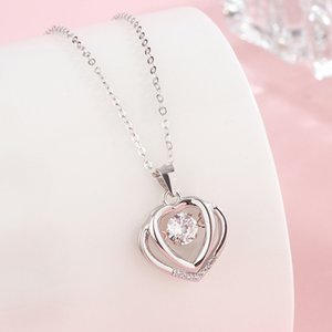 Delicate Crystal Heart Pendant Necklace Feminine Long Chain Party Wedding Valentine's days Gifts Jewelry