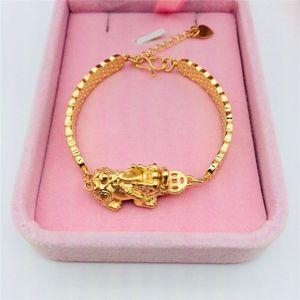 Bracelet Pixiu Vietnam Sable d'or en laiton bijoux plaqué or Bijoux Motif Cuivre Monnaie Pixiu Bracelet Mode
