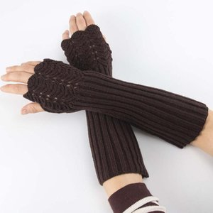 Elegant Women Fingerless Long Gloves Thumbhole Knit Arm Warmer Sleeve Elbow Length Soft Solid Color Mitten Winter 1 Pair