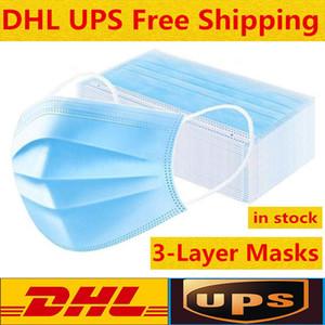 Maschera monouso viso con maschere ear loop elastico 3 pieghe traspirante e confortevole per bloccare polvere Protezione Inquinamento pacchetto in magazzino