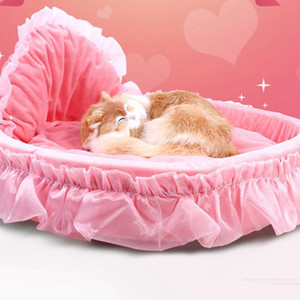 Girl Dog Bed Round Pet Lounger Cushion For Small Medium Dogs Cats Cute Princess Mat Warm Pet Bed KKA8076