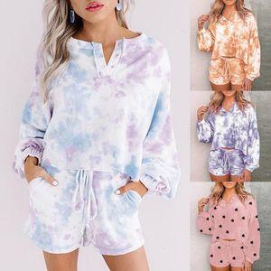 Frauen des Anzug beiläufige Art und Weise Top Shorts zweiteiliger Anzug Tie Dye Set Frauen Kleidung losen Sommer Drucke
