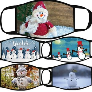 Christmas Snowman Printed Civilian Dust-Proof Hanging Ear Mask, Polyester Washable Material, All-Season Universal Cotton Cartoon Mask
