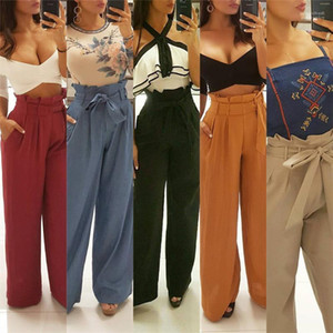 Paperbag Trousers for Womens Clothes Spring Summer Fashion High Waist Wide Leg Casual Leisure Pants