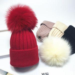 Wool Beanie Boys Girls Kids Knitted Hats Parent-Child Knitting Hats Warm Cap Skull Caps Wool Real Fox Fur Ball Pompom Knit Beanies Hat