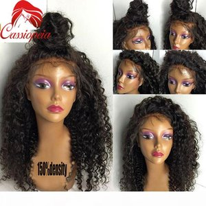 Kinky Curly Human Hair Wig with Bleached Knots Glueless Virgin Brazilian Curly Human Hair Full Lace Wigs For Black Women Free Shipping