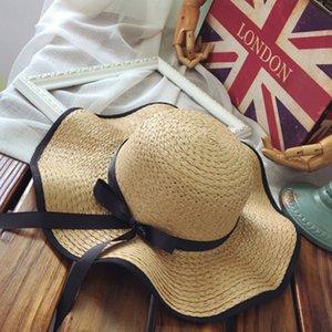 Bowknot Folding Praia Cap Mulheres Big Brim chapéu de palha Chapéu de Sol Sun Floppy aba larga Chapéus Chapeu Praia Mulher