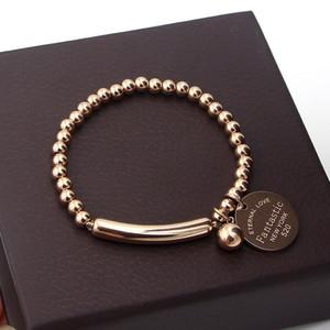 """""""Fantastic Eternal Love New York"""" Stainless Steel Ball Beads Bracelet For Women Circle Tag Charm Stretch Strand Bracelet K0001-2"""