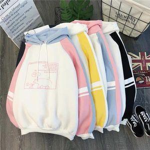 Women Plush Cute Bear Print Hoodie Long Sleeve Hoody Female Sweatshirts Loose Size Lovely Cotton Treetwear Top Spring Clothes