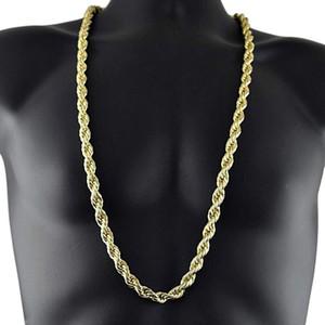 Novo Rendy 75cm Homens Hip Hop Colar 316L Aço Inoxidável 8mm enorme corda de trigo Chapas de colar Chain Chain Cara1106