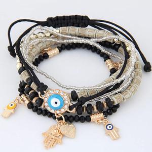 New Kabbalah Fatima Hamsa Hand Evil Eye Charms Bracelets & Bangles Multilayer Braided Handmade Beads Pulseras For Women Men