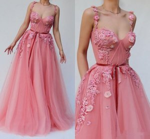 Hot Selling Tulle A Line Long Prom Dresses with Applique Handmade Flowers Bride Party Formal Dress Spaghetti Straps Evening Gowns