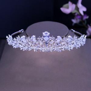 L Art Deco Crystals Rhinestones Alloy Cubic Zircon Wedding Tiara Bridal Queen Princess Pageant Party Crown Bridesmaids