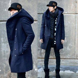 ZEESHANT Mode Günstige Herren Pea Coat mit Kapuze Zweireihig Lange Cotton Trench Coat Men Overcoat in Herren WoolBlends CFGM #