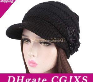 New Women &#039 ;S Stretch Print Flower Sequin Twist Knit Head Hat Chemo Beanies Cap Headgear Thick Warm Wool Knitted Female Winter