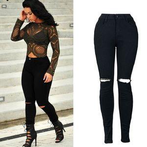 New White Hole Ripped Jeans Women Cool High Waist Elastic Denim Pant Capris Female Skinny Jeans Black Casual Pencil Pants