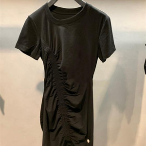 New Summer Pleated Slim Dress Women's Irregular Crooked Collar Design Short Skirt A2 0924