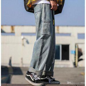 Shierxi Jeans Uomini New Denim pantaloni da uomo solido di colore di modo casuale Large Size diritto allentato gamba larga cowboy pantaloni Maschio