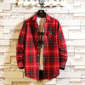 Casual Spring Autumn Plaid Shirt Men Long Sleeve High Quality 2020 Japan Style Loose Streetwear Plus Size M-5XL kg-12