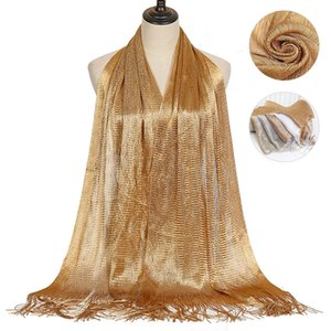 New Arrival Plain Lurex Polyester Scarf Glitter Tassel Shawl Gold Thread Scarves Muslim Women Hijab Female Islamic Turban Stoles