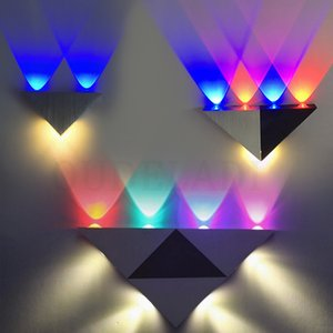 AC 110V 220V 3W 5W 8W LED wall lamps home Living Room Wall lamps Porch lights Silver KTV Sconce Triangle aluminum light