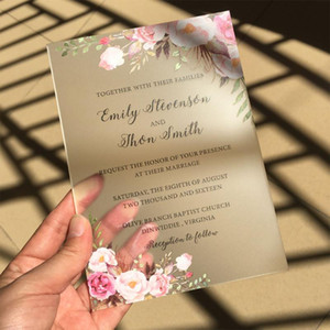 21x14cm,8X13cm Rustic Water Color Style Frosted Acrylic Wedding Invitation Cards SHIP TO ITALY ONLY